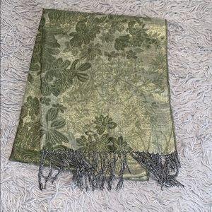 Accessories - Gold & Green flower scarf 3/$20